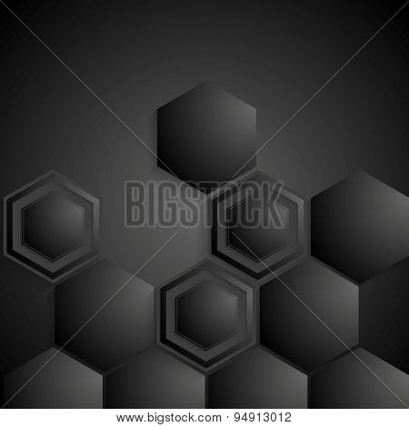 Black geometric hexagons background. Vector design