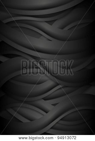 Black concept corporate abstract background with waves. Vector illustration design