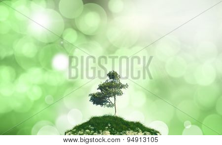 3D render of a tree and grass against a defocussed background