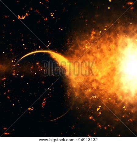 Space background with nebula and fictional planet with cosmic explosion