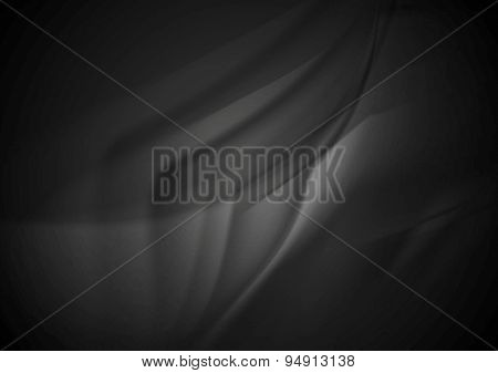 Black smooth silk waves background. Vector design