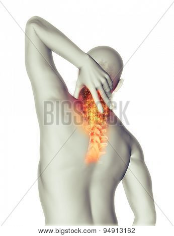 3D render of a male figure holding neck in pain with fire effect