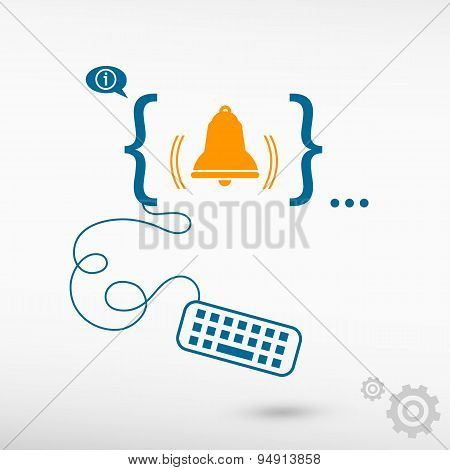 Bell Icon And Flat Design Elements