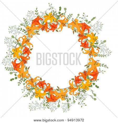 Detailed contour wreath with herbs, orange lilies and wild flowers isolated on white. Round frame for your design, greeting cards, announcements, posters.