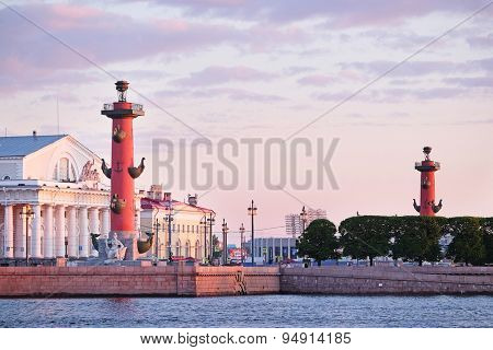 Rostral column in St.-Petersburg, Russia,under the cloudy sky