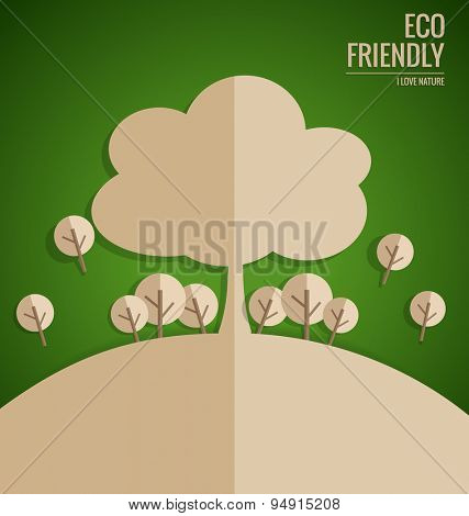 Ecology concept. Paper cut of tree on green background. Vector illustration.