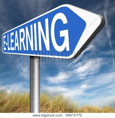 e-learning online education road sign arrow internet classes learning in open school or university virtual elearning