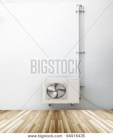 Condenser With White Plaster Walls