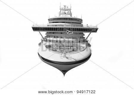 Large cruise ship isolated over white