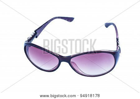 Purple eyeglasses isolated on white