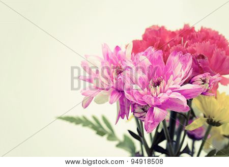 Vintage Effect Style Of Colorful Flower Bouquet Arrangement