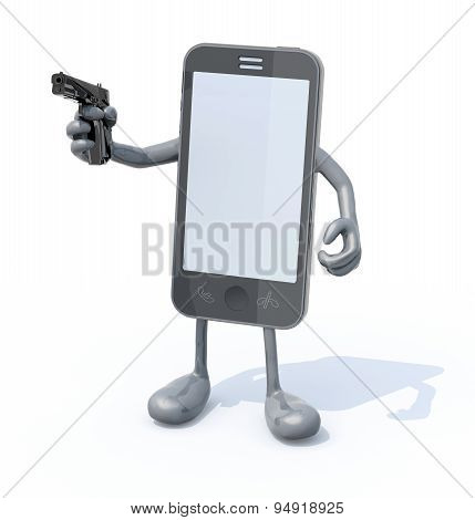Smartphone With Arms Legs And Gun On Hand