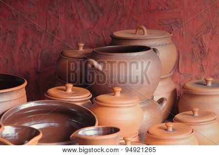 Different Kinds Of Ceramics Pots Taken Closeup.
