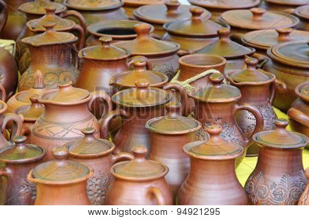 Plenty Of Ceramics Pots Taken Closeup.