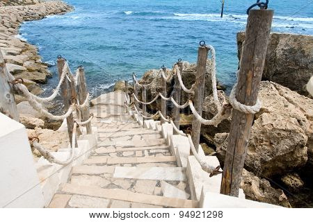 Stairs To The Sea In Rocky Outcrops Coast. Mahdia. Tunisia. Africa.