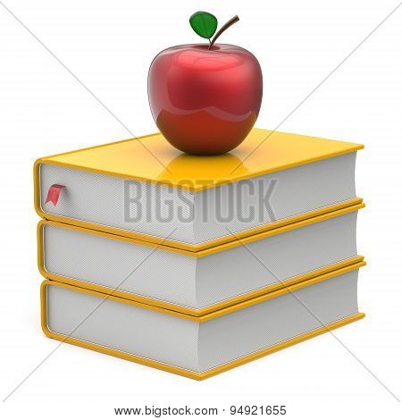 Books Textbook Stack Yellow And Red Apple Bookmark Icon