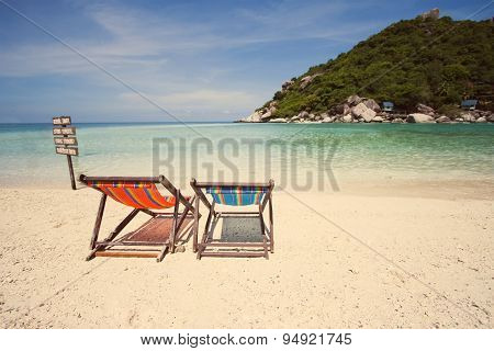 Two Deck Chair On The Beach