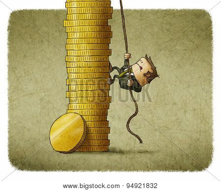 climbing a stack of coins