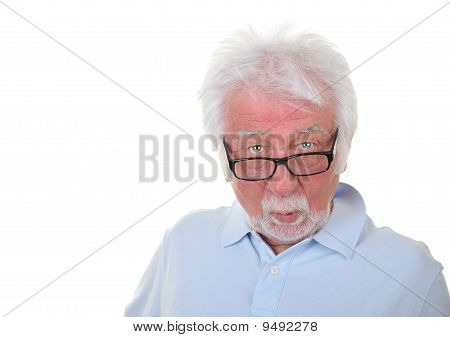 Surprised man on white background.