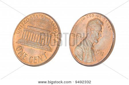 Penny isolated on white