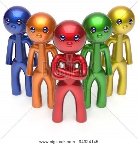Leadership Teamwork Character Stylized Men Crowd Team