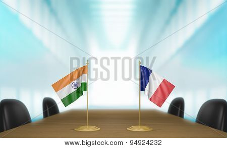 India and France relations and trade deal talks 3D rendering