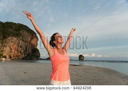 Sporty Woman Motivation And Success At The Beach