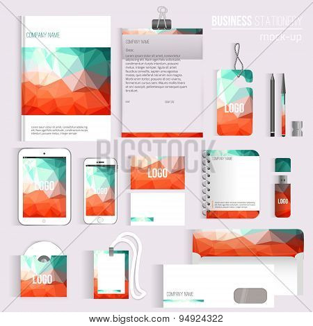Vector Triangle Blank Corporate Identity Set Of Stationery Branding. Consist Of Letterhead, Book, Pe