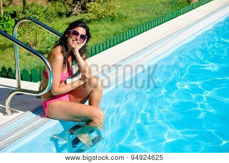 Woman Enjoying Summer At Poolside