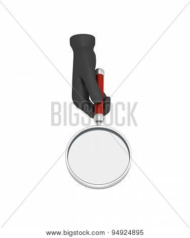 Hands In A Black Gloves Holding A Loup. 3D Render. White Background.