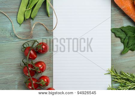 White Paper And Vegetables