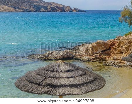 Umbrella On The Beach Parasporos Cycladic Island Paros.