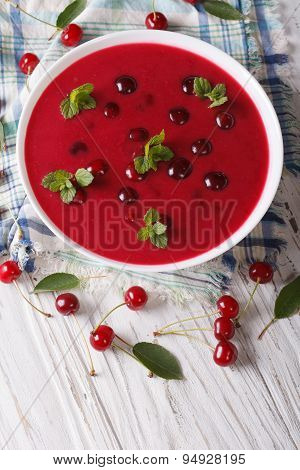 Hungarian Cherry Cream Soup In A Bowl Vertical Top View