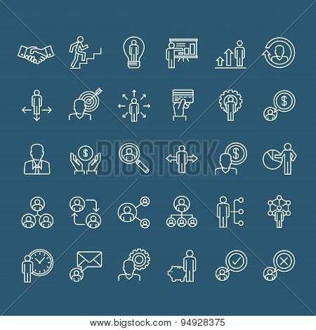 Set of thin line business people icons