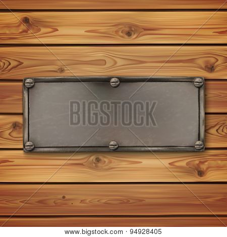 Vintage, old metal banner on wooden planks.