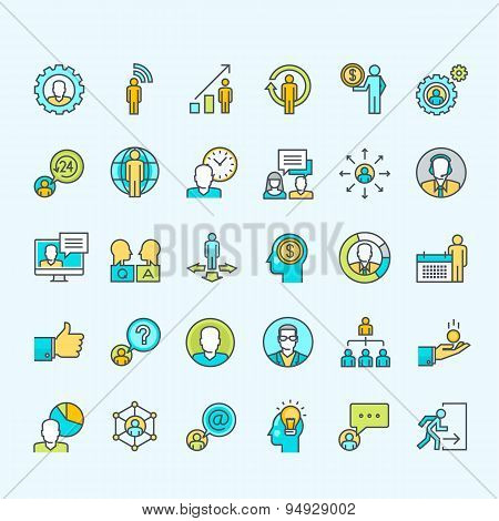 Set of thin line color people icons for business