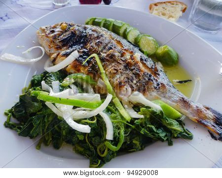 Grilled Sea Bream Plate With Vegetable
