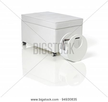 white pouf leather and magazine rack on the whitebackground