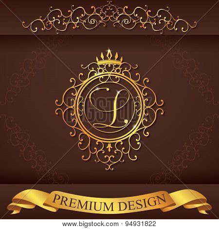 Letter L. Luxury Logo Template Flourishes Calligraphic Elegant Ornament Lines. Business Sign, Identi