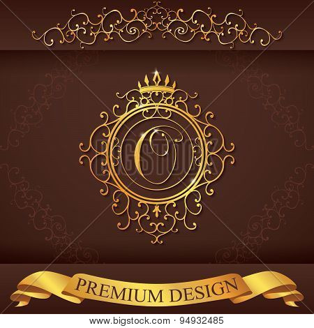 Letter O. Luxury Logo Template Flourishes Calligraphic Elegant Ornament Lines. Business Sign, Identi