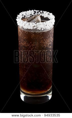Batanga drink rimmed with salt isolated on black
