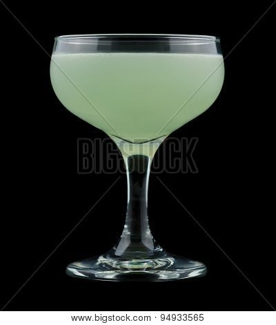 Green Ghost cocktail isolated on black background