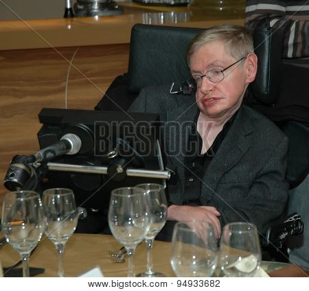 Tel Aviv, Israel, Dec, 12, 2006: Professor Stephen Hawking is visiting Tel Aviv university
