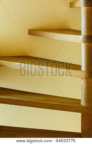 Closeup Staircase With Wooden Steps
