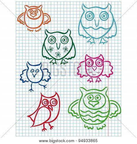 Cute Seven Owls On A Checkered Sheet