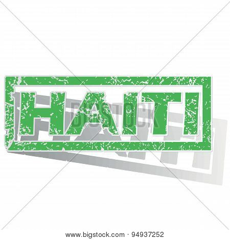 Green outlined Haiti stamp