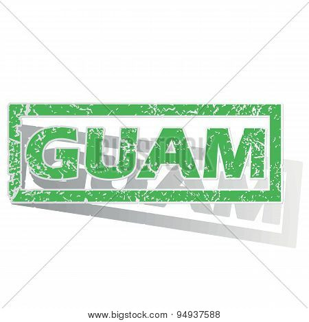 Green outlined Guam stamp