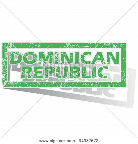 Green outlined Dominican Republic stamp