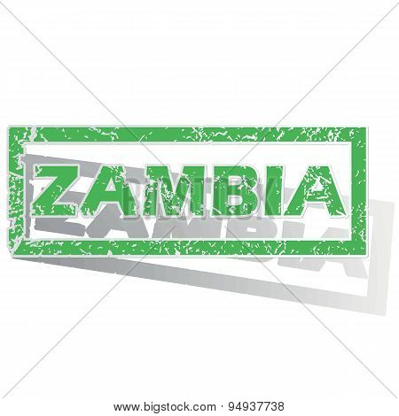 Green outlined Zambia stamp