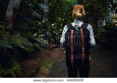 Rear view  hipster girl at sport hike activity outdoors focus on the backpack
